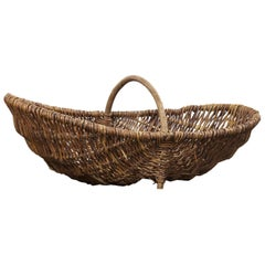 1960s Large French Flower Pickers Basket
