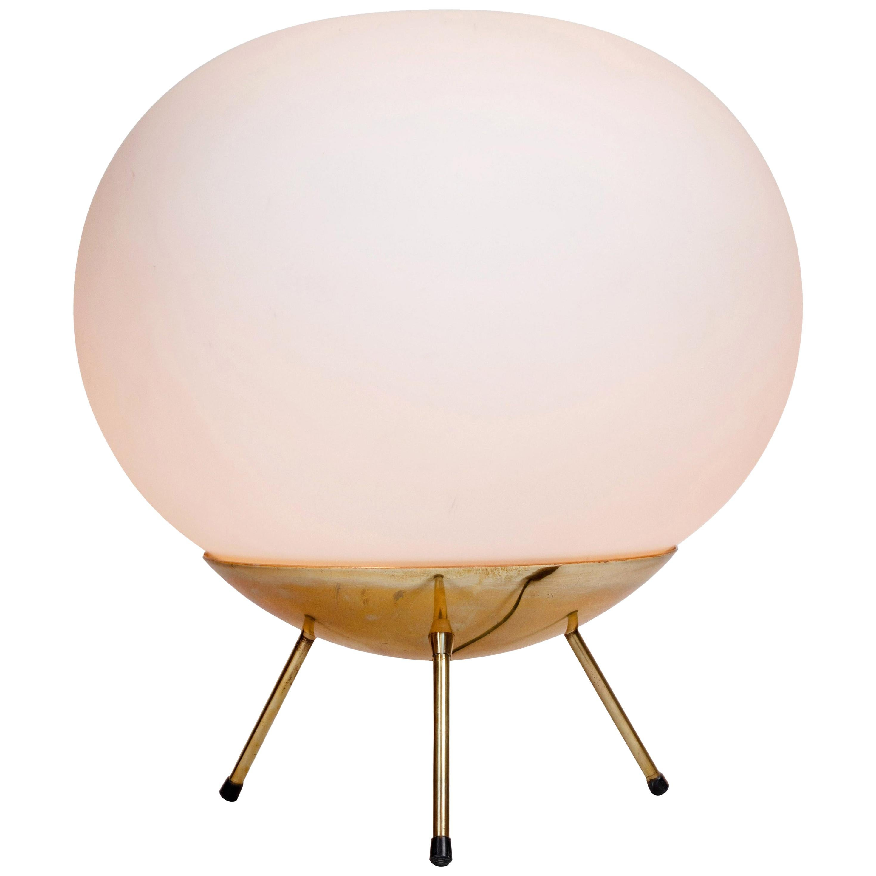 Large 1960s Glass and Brass Tripod Floor or Table Lamp Attributed to Stilnovo
