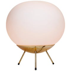 1960s Large Glass and Brass Tripod Floor or Table Lamp Attributed to Stilnovo