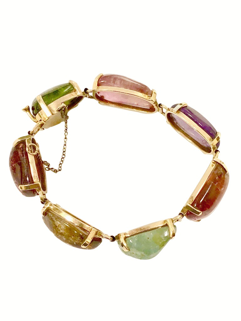 1960s Large Gold and Cabochon Gem Stone Bracelet In Excellent Condition For Sale In Chicago, IL
