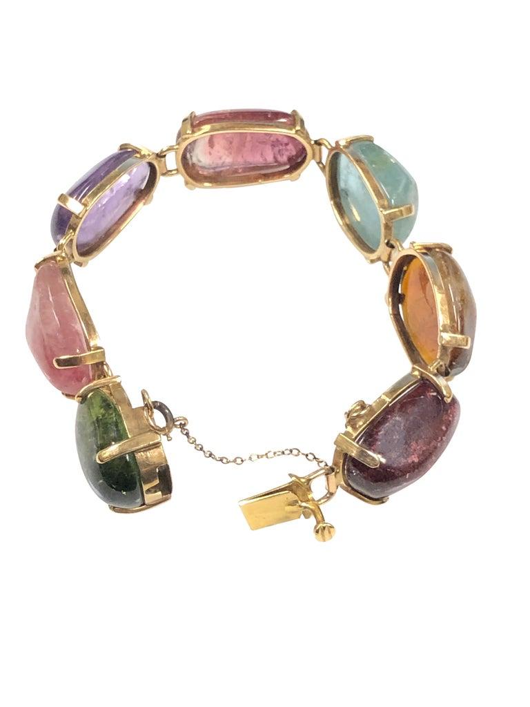 1960s Large Gold and Cabochon Gem Stone Bracelet For Sale 1