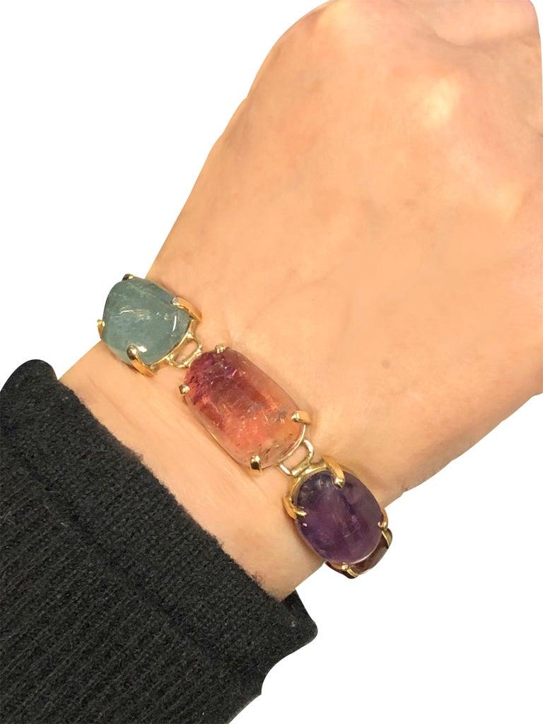 1960s Large Gold and Cabochon Gem Stone Bracelet For Sale 2