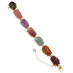1960s Large Gold and Cabochon Gem Stone Bracelet
