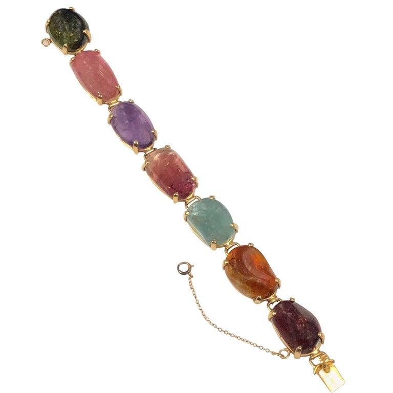 1960s Large Gold and Cabochon Gem Stone Bracelet For Sale