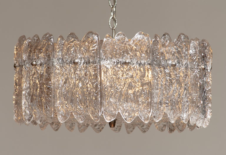 Mid-Century Modern 1960s, Large Ice Sculpted Crystal Pendant by Carl Fagerlund for Orrefors, Sweden For Sale