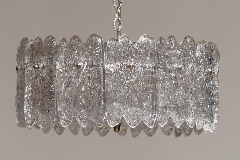 Swedish 1960s, Large Ice Sculpted Crystal Pendant by Carl Fagerlund for Orrefors, Sweden For Sale