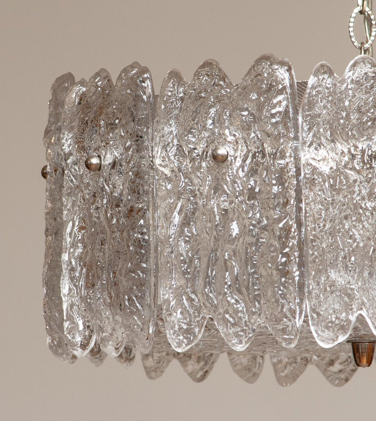 1960s, Large Ice Sculpted Crystal Pendant by Carl Fagerlund for Orrefors, Sweden In Good Condition For Sale In Silvolde, Gelderland
