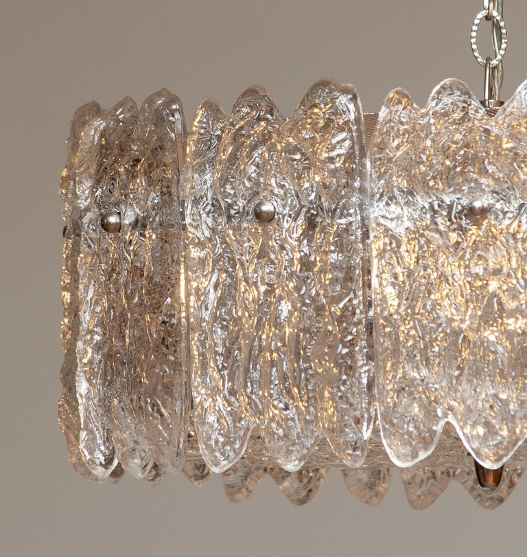 Mid-20th Century 1960s, Large Ice Sculpted Crystal Pendant by Carl Fagerlund for Orrefors, Sweden For Sale