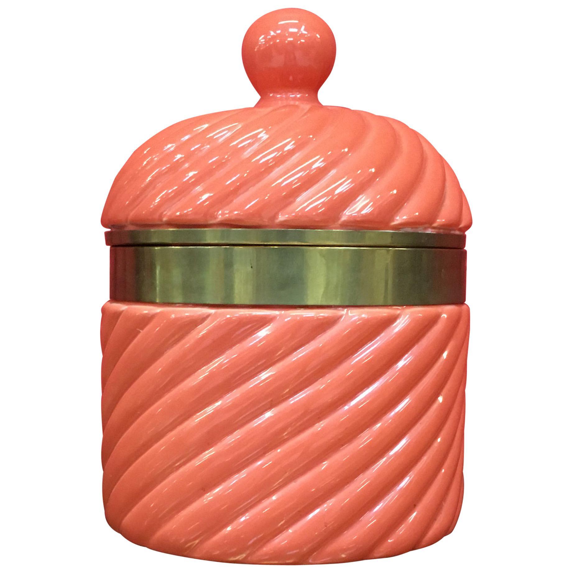 1960s Large Italian Ceramic Ice Bucket by Tommaso Barbi