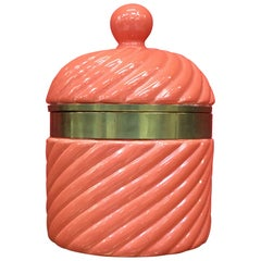 1960s Large Italian Ceramic Ice Bucket by Tommaso Barbi