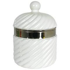 1960s Large Italian White Ceramic Ice Bucket by Tommasi Barbi