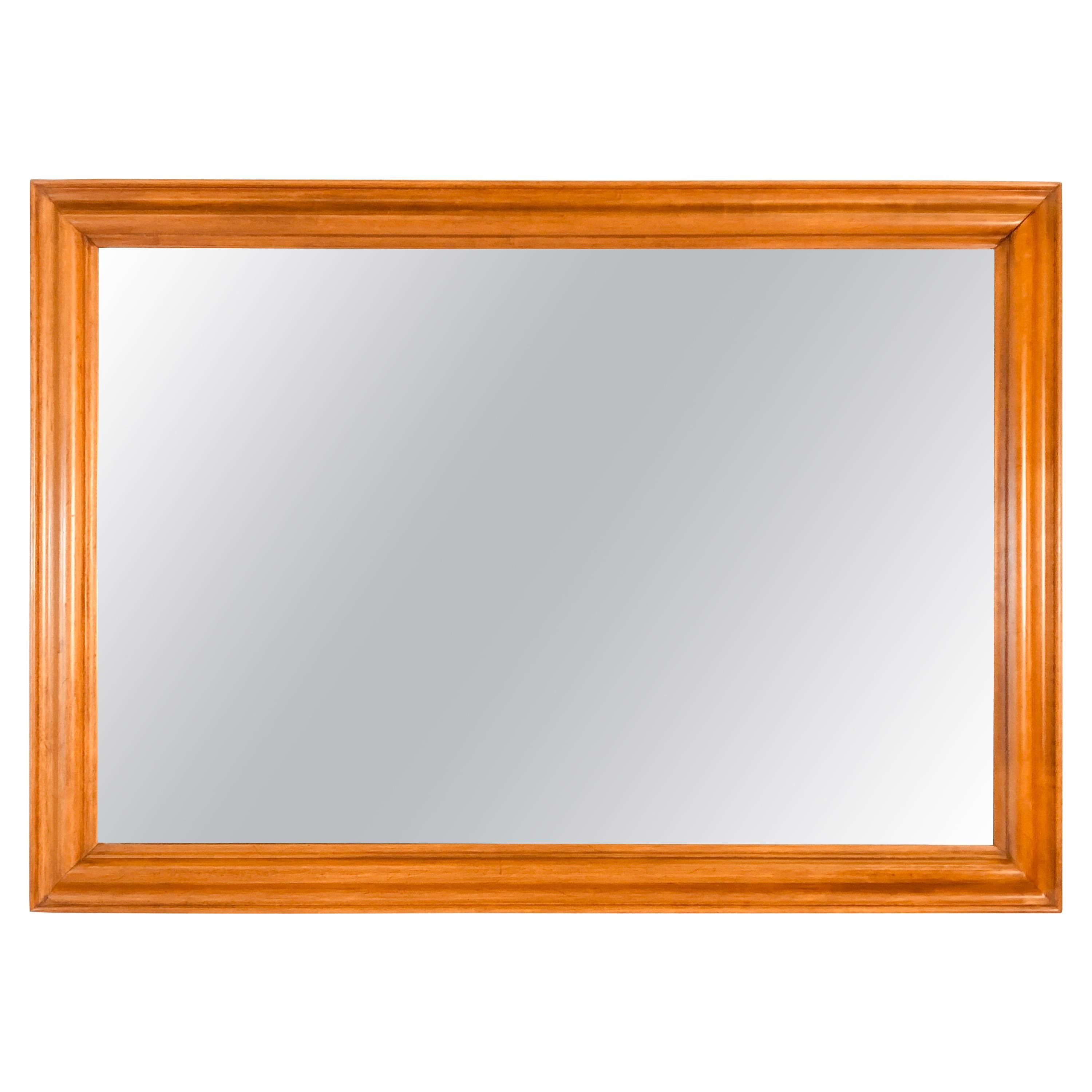 1960s Large Maple Wood Wall Mirror