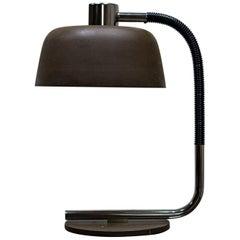 1960s Large Metal Gooseneck Green Desk Lamp