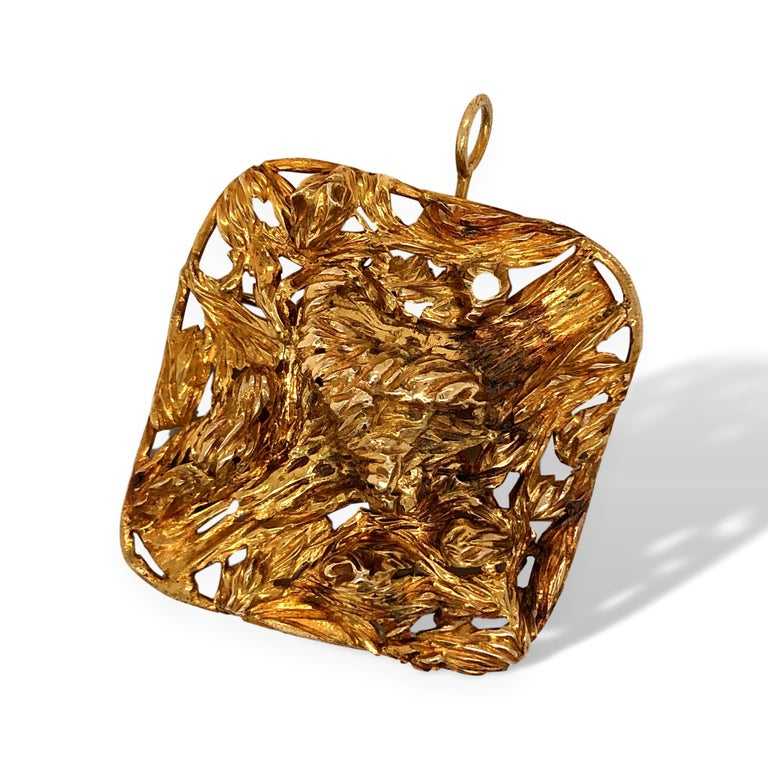 1960s Large Modernist Gold Studio, Jewelry Pendant For Sale 1