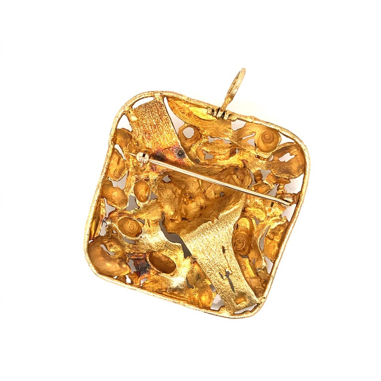 1960s Large Modernist Gold Studio, Jewelry Pendant For Sale 2