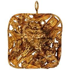 1960s Large Modernist Gold Studio, Jewelry Pendant
