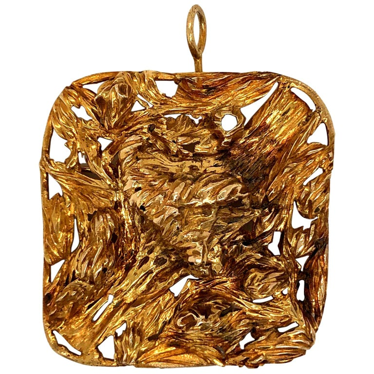 1960s Large Modernist Gold Studio, Jewelry Pendant For Sale