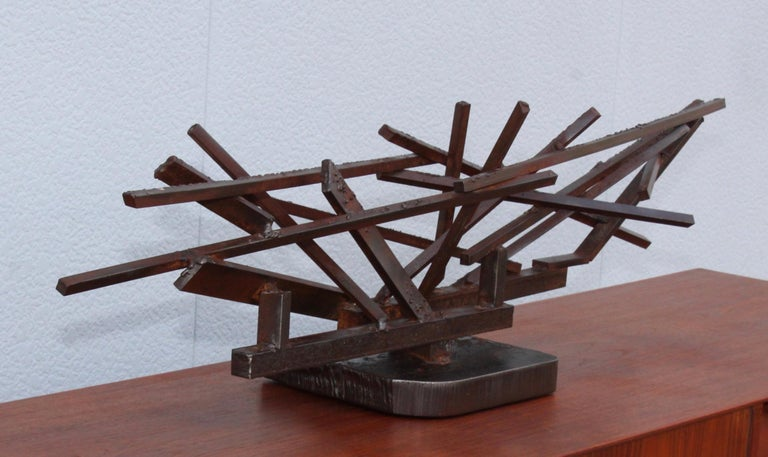 American 1960s Large Modernist Steel Sculpture For Sale