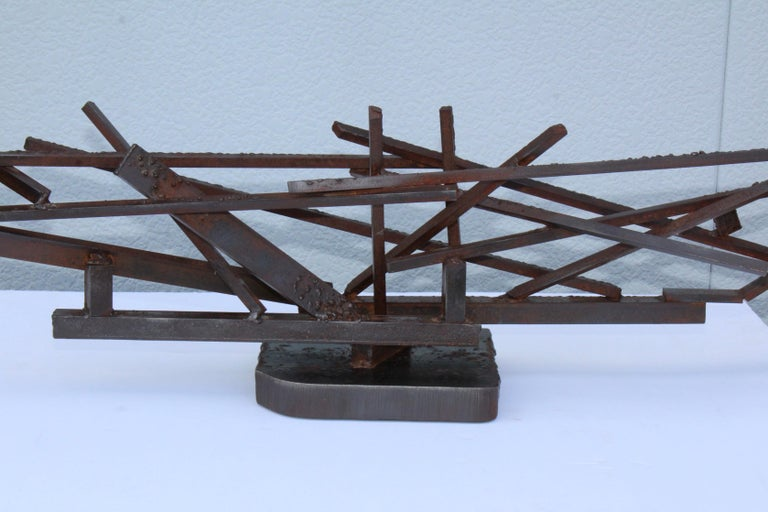 1960s Large Modernist Steel Sculpture In Good Condition For Sale In New York City, NY