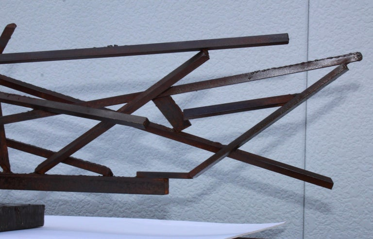 Mid-20th Century 1960s Large Modernist Steel Sculpture For Sale