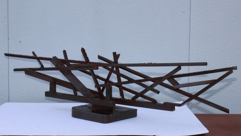 1960s Large Modernist Steel Sculpture For Sale 1