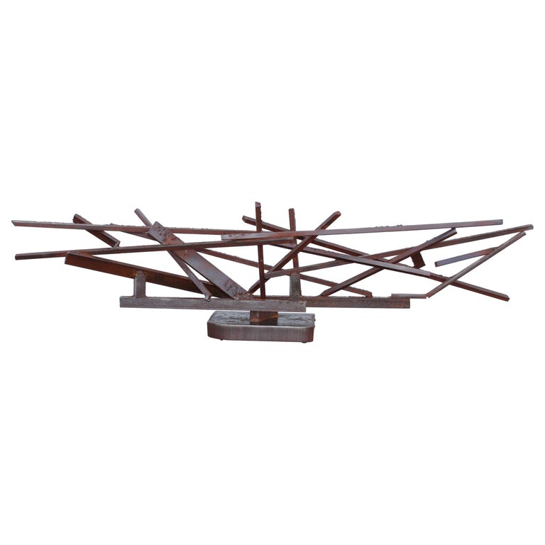1960s Large Modernist Steel Sculpture For Sale