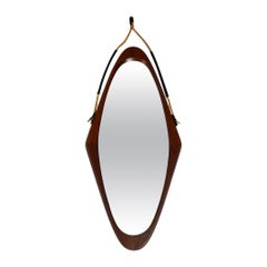 1960s Large Rhombus-Shaped Teak Wall Mirror with Thick Rope for Hanging