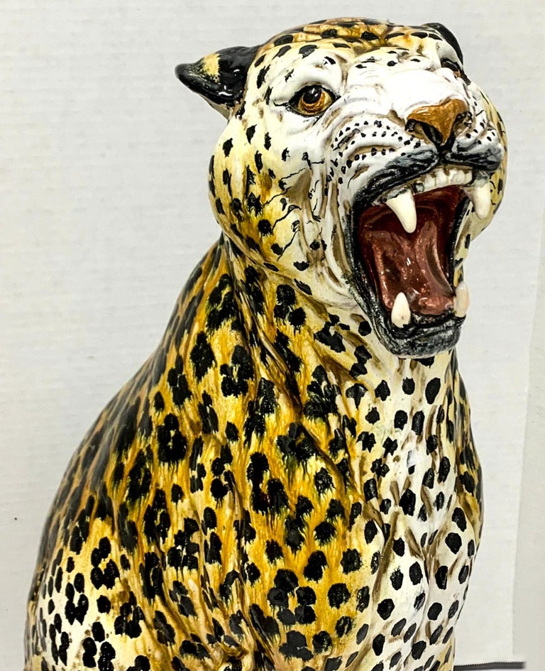 Love my terracotta animals! This is a large scale Hollywood Regency Era Italian leopard. He is in very good condition with his vibrant hand painted finish.