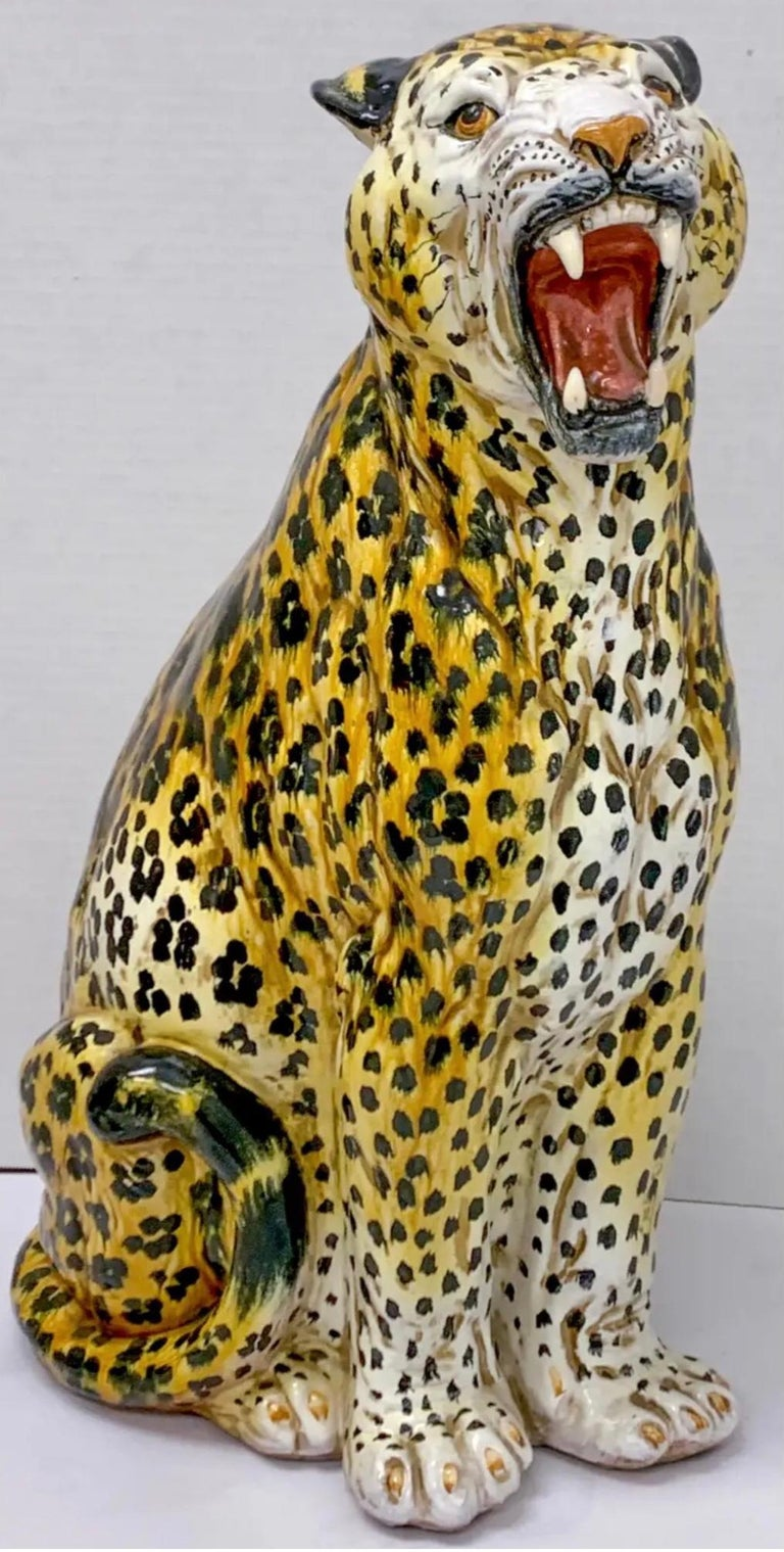 1960s Large Scale Hollywood Regency Era Italian Terracotta Leopard For Sale 1