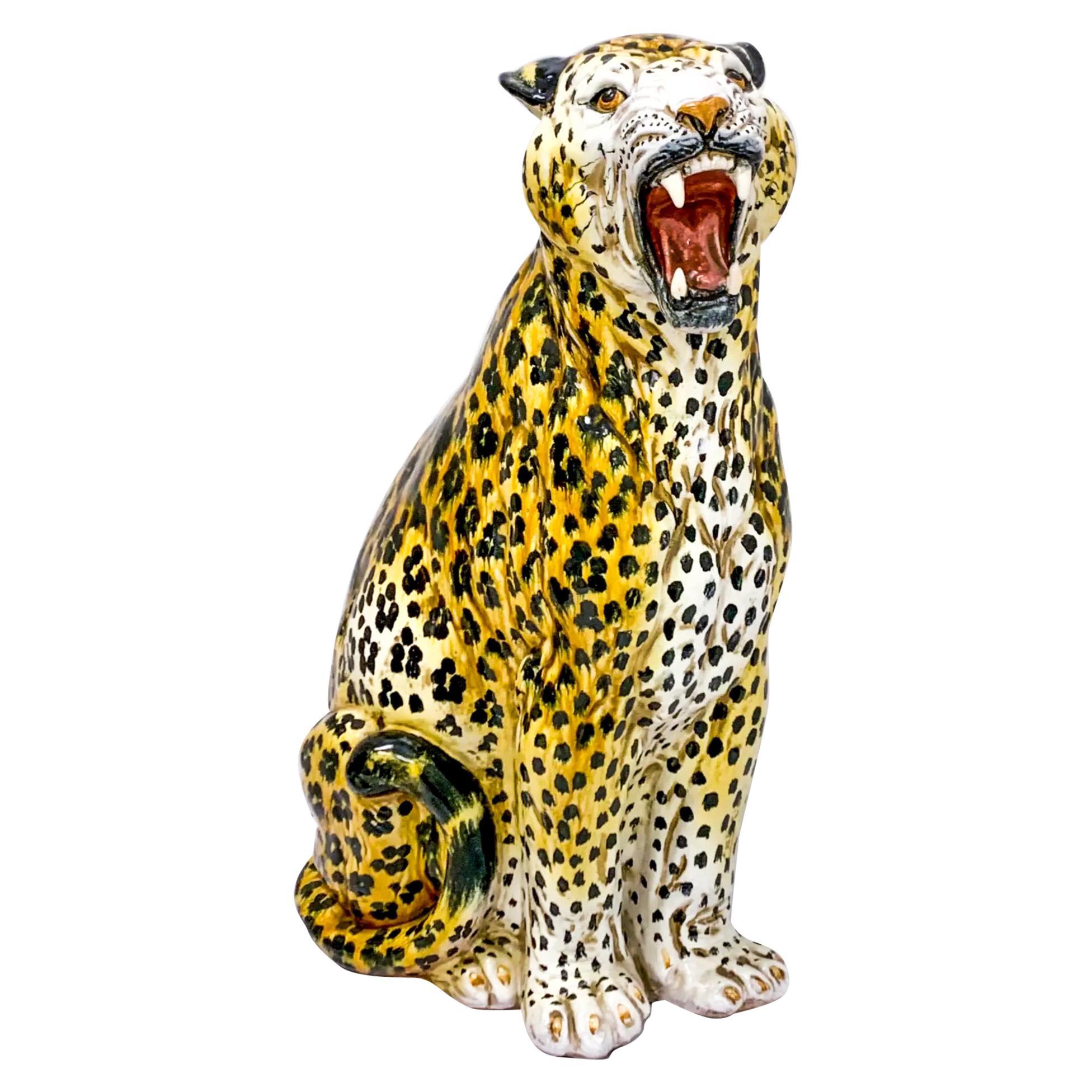 1960s Large Scale Hollywood Regency Era Italian Terracotta Leopard