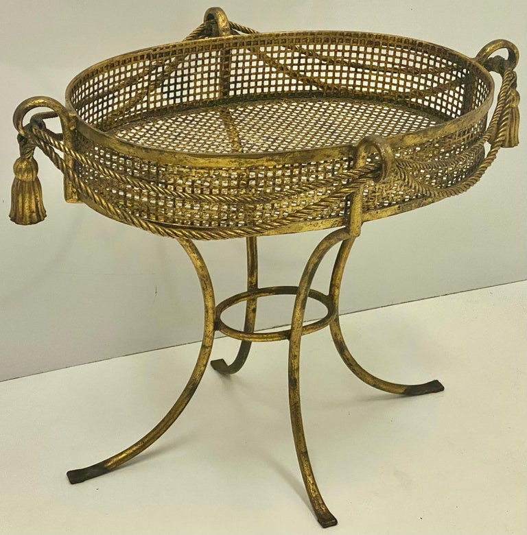 Metal 1960s Large Scale Italian Hollywood Regency Gilt Tassel Planter For Sale
