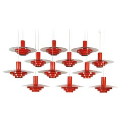 1960s Large Set of 12 Danish Modern Karlebo Pendant Lights by Fog & Mørup