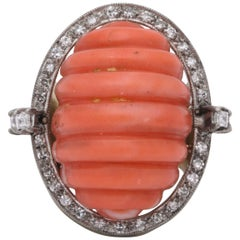 1960s Large Shrimp Fluted Coral with Diamonds Gold Cocktail Ring