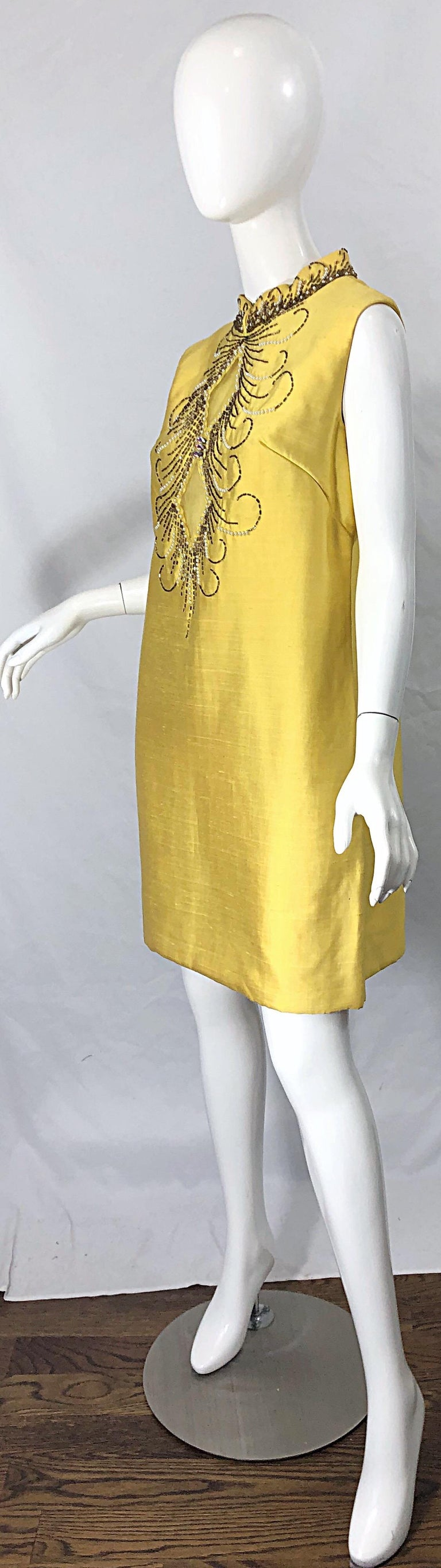 1960s Large size Yellow Beaded Rhinestone Silk Shantung Vintage 60s Shift Dress For Sale 1