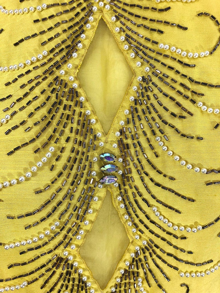 1960s Large size Yellow Beaded Rhinestone Silk Shantung Vintage 60s Shift Dress For Sale 2
