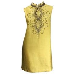1960s Large size Yellow Beaded Rhinestone Silk Shantung Vintage 60s Shift Dress
