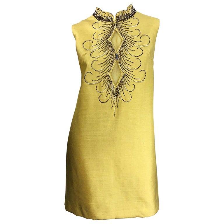 1960s Large size Yellow Beaded Rhinestone Silk Shantung Vintage 60s Shift Dress For Sale