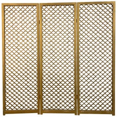 "1960s Large Wood Tri Folding ""Fish Scale"" Screen"