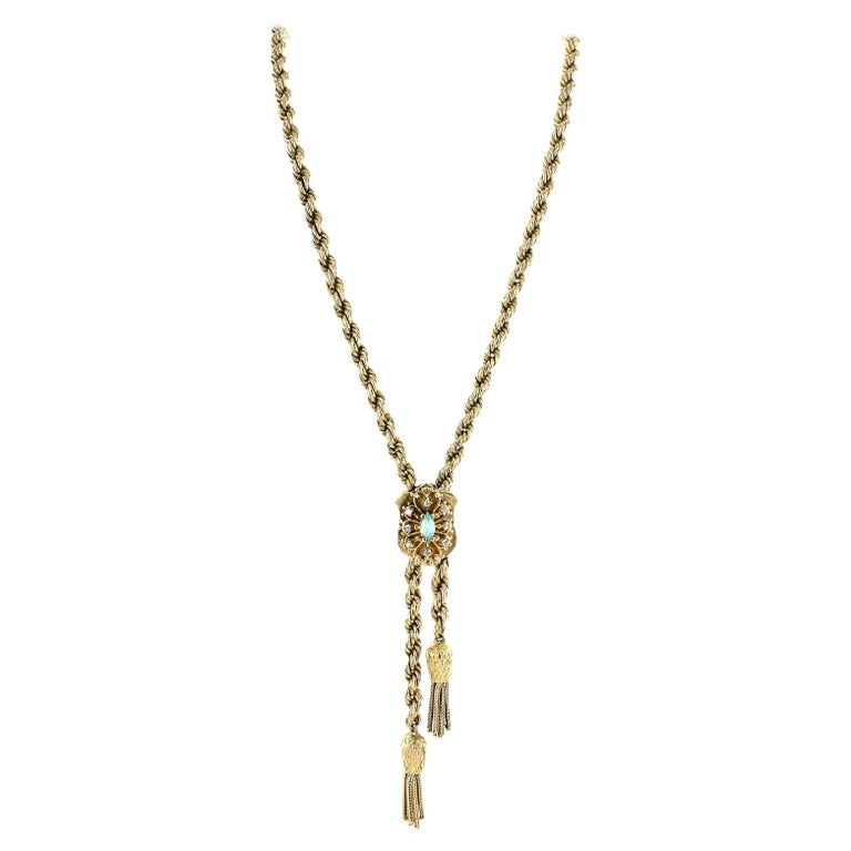 1960's Lariat Diamond Opal 14 Karat Yellow Gold Adjustable Rope Necklace For Sale