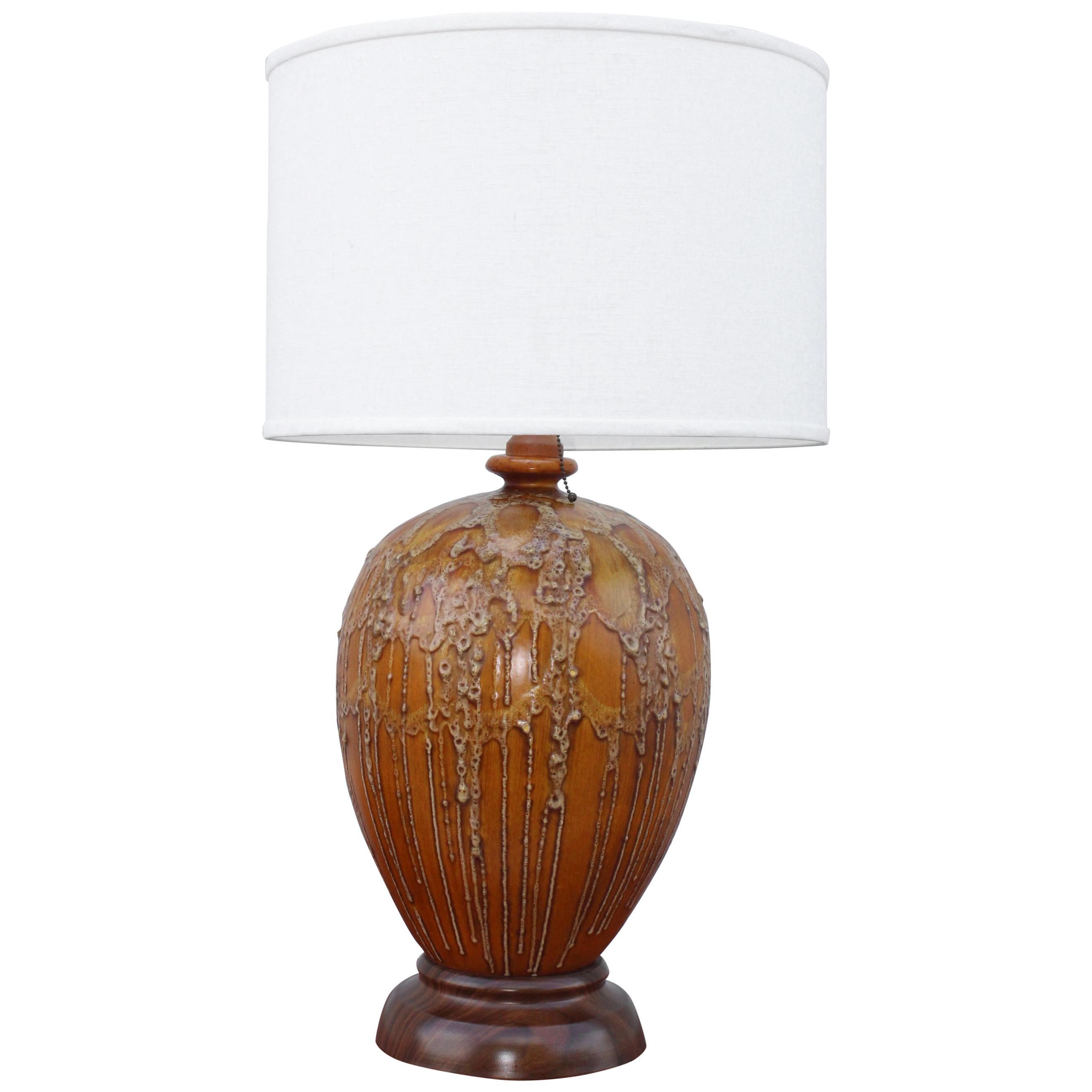 1960s Lava Glazed Large German Table Lamp