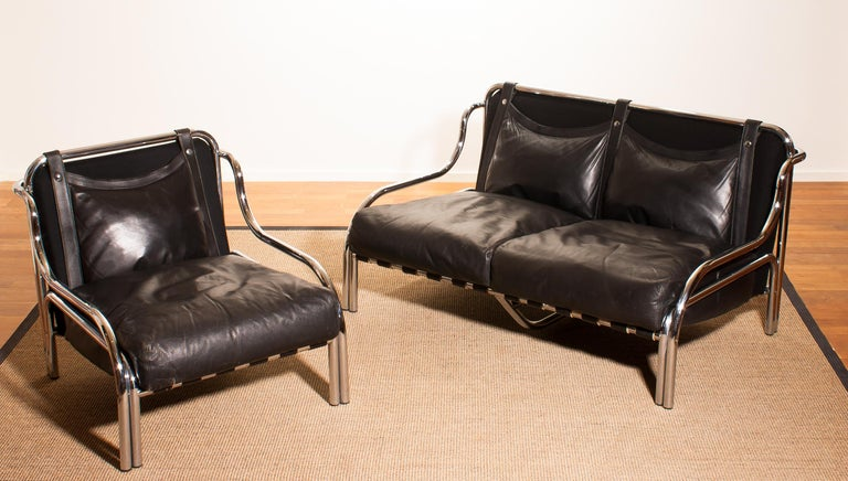 1960s, Leather and Chrome Lounge Sofa and Chair by Gae Aulenti for Poltronova For Sale 1