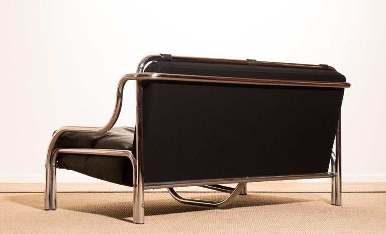 1960s, Leather and Chrome Lounge Sofa and Chair by Gae Aulenti for Poltronova For Sale 3