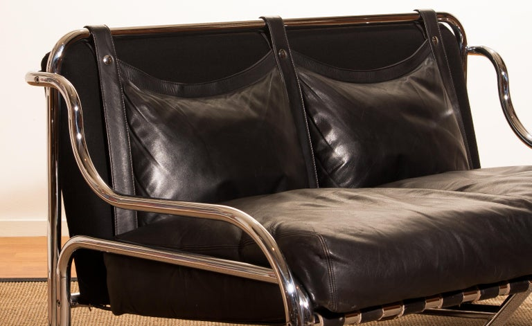 1960s, Leather and Chrome Lounge Sofa and Chair by Gae Aulenti for Poltronova For Sale 4