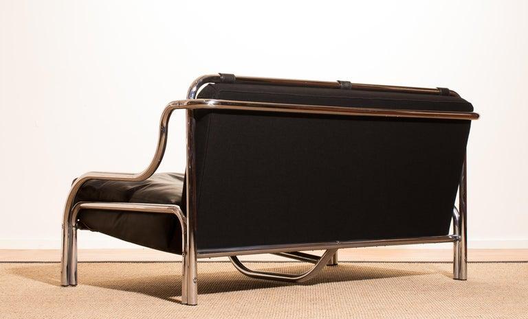 Italian 1960s, Leather and Chrome Lounge Sofa by Gae Aulenti for Poltronova For Sale