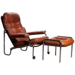 1960s, Leather and Chrome Tubular Lounge Chair and Ottoman by Göte Möbel