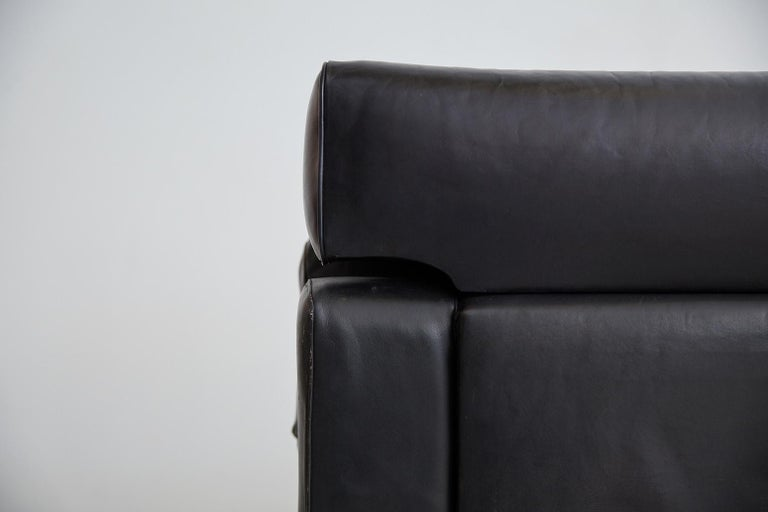 1960s Leather Armchair with Rosewood For Sale 6
