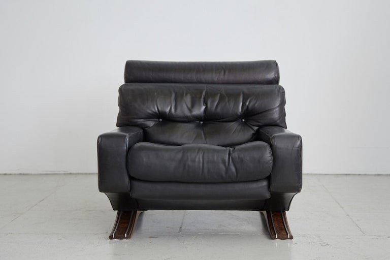 Mid-20th Century 1960s Leather Armchair with Rosewood For Sale