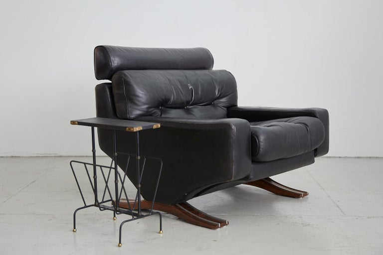Aluminum 1960s Leather Armchair with Rosewood For Sale