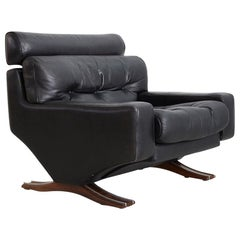 1960s Leather Armchair with Rosewood