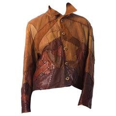 1960S Leather  Artisanal Patch Work Soft Jacket